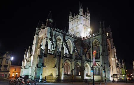 peter the great: BATH, UK - CIRCA SEPTEMBER 2016: The Abbey Church of Saint Peter and Saint Paul (aka Bath Abbey) at night