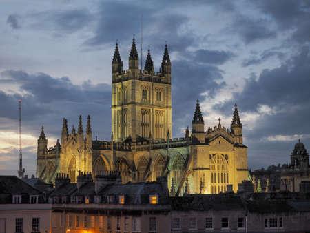 BATH, UK - CIRCA SEPTEMBER 2016: The Abbey Church of Saint Peter and Saint Paul (aka Bath Abbey) at night