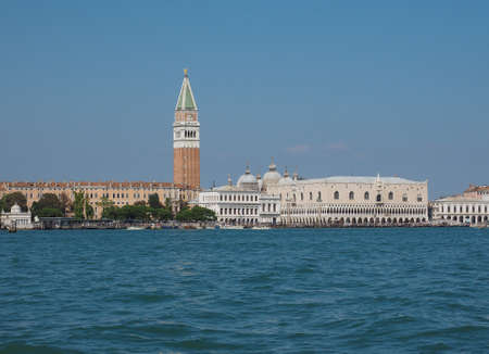 Piazza San Marco (meaning St Mark square) seen from San Marco basin in Venice, Italy