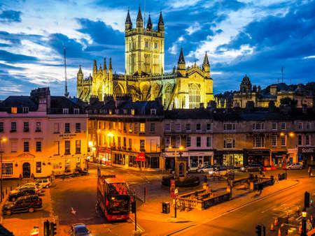 BATH, UK - CIRCA SEPTEMBER 2016: HDR The Abbey Church of Saint Peter and Saint Paul (aka Bath Abbey) at night