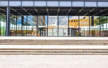der: BERLIN, GERMANY - MAY 09, 2014: The Neue Nationalgalerie art gallery is a masterpiece of modern architecture designed by Mies Van Der Rohe in 1968 as part of the Kulturforum (HDR)