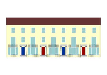 illustratie van een traditionele Britse rijtjeshuis