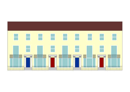 terraced: illustration of a traditional British terraced house Stock Photo