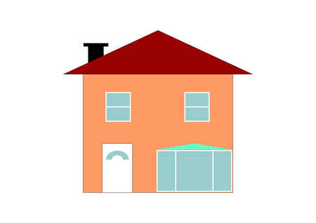 two storey house: illustration of a single two storey house Stock Photo