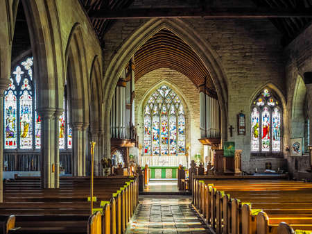 arden: TANWORTH IN ARDEN, UK - SEPTEMBER 25, 2015: Parish Church of St Mary Magdalene interior view (HDR)