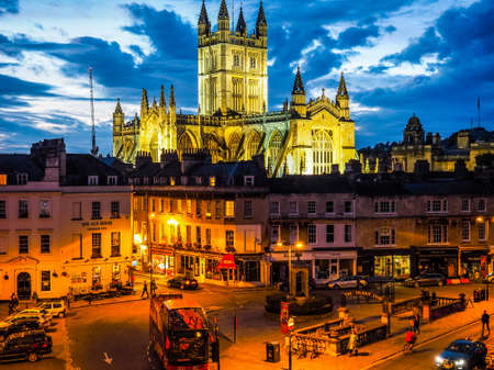 BATH, UK - CIRCA SEPTEMBER 2016: HDR The Abbey Church of Saint Peter and Saint Paul (aka Bath Abbey) at night