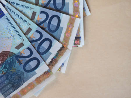 Euro (EUR) banknotes, currency of European Union (EU) with copy space