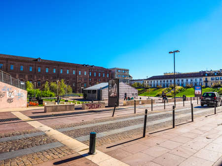 beer garden: TURIN, ITALY - OCTOBER 22, 2014: Piazzale Valdo Fusi is a large central square with a jazz club, a beer garden, the Museum of Natural History, the Chamber of Commerce (HDR) Editorial