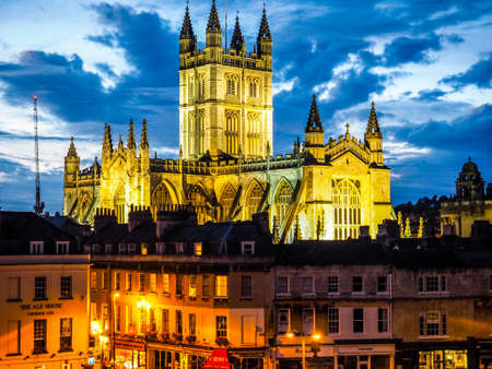 peter the great: BATH, UK - CIRCA SEPTEMBER 2016: HDR The Abbey Church of Saint Peter and Saint Paul (aka Bath Abbey) at night