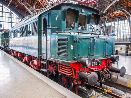 LEIPZIG, GERMANY - JUNE 12, 2014: Class E04 AC electric locomotive E04 01 of the Deutsche Reichsbahn at Leipzig Hbf station (HDR)