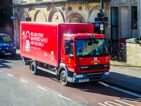 royal mail: BRISTOL, UK - CIRCA SEPTEMBER 2016: HDR Red Royal Mail lorry delivering mail in Bristol Editorial