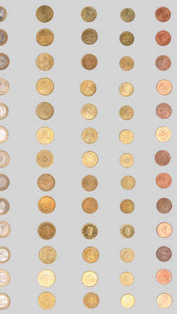 geld: Euro coin from all countries of the European Union - vertical