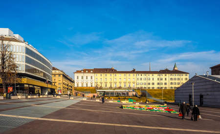 TURIN, ITALY - DECEMBER 16, 2015: Piazzale Valdo Fusi square with a jazz club, a beer garden, the Museum of Natural History, the Chamber of Commerce (HDR)
