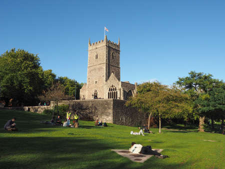 BRISTOL, UK - CIRCA SEPTEMBER 2016: Ruins of St Peter church in Castle Park bombed during World War II and now preserved as a memorial