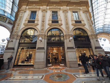 prada: MILAN, ITALY - CIRCA JANUARY 2017: Prada store in Galleria Vittorio Emanuele II shopping arcade Editorial