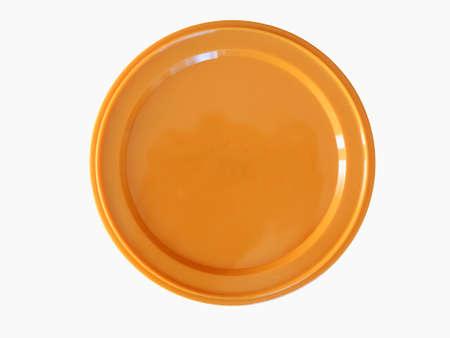 Orange plastic chip fiche token money - isolated over white