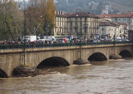 deluge: TURIN, ITALY - CIRCA NOVEMBER 2016: River Po flood in city centre