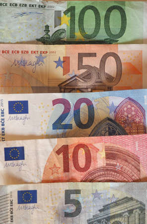 one hundred euro banknote: Euro (EUR) banknotes, currency of European Union (EU) - Five, Ten, Twenty, Fifty, One Hundred tender
