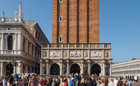 st mark: VENICE, ITALY - CIRCA SEPTEMBER 2016: Campanile San Marco (meaning St Mark church steeple) in St Mark square