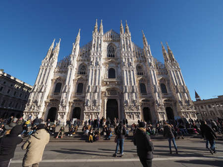 MILAN, ITALY - CIRCA JANUARY 2017: Tourists visiting Piazza Duomo (meaning Cathedral Square)