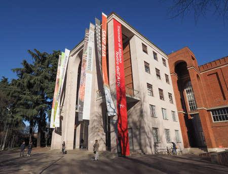MILAN, ITALY - CIRCA JANUARY 2017: La Triennale exhibition hall designed by Giovanni Muzio is a masterpiece of Italian rationalism