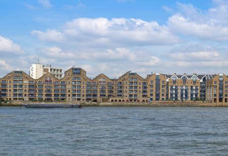 Docks in London Docklands on River Thames, UK