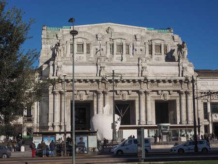 anno: MILAN, ITALY - CIRCA JANUARY 2017: Stazione Centrale Central railway station (text Nell anno MCMXXXI dell era di Cristo means Year 1931 AD)