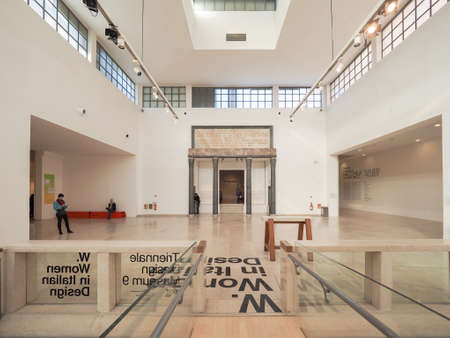 rationalism: MILAN, ITALY - CIRCA JANUARY 2017: Interior view of La Triennale exhibition hall designed by Giovanni Muzio masterpiece of Italian rationalism
