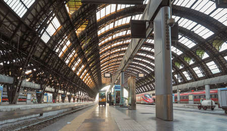 MILAN, ITALY - CIRCA JANUARY 2017: Train platforms at Stazione Centrale Central railway station