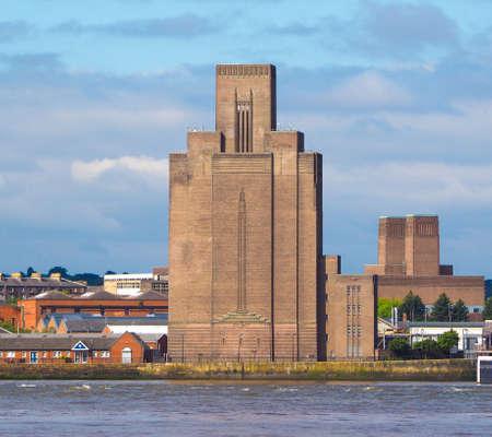 mersey: View of Birkenhead skyline across the Mersey river in Liverpool, UK Stock Photo
