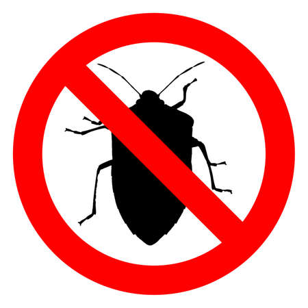 No bugs sign, red regulatory signal over black bug silhouette