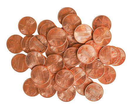 Dollar coins 1 cent currency of the United States isolated over white background