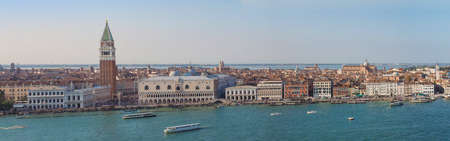 Wide panoramic view of the city of Venice, including Piazza San Marco (meaning St Mark Square) in Venice, Italy
