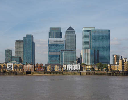 The Canary Wharf business centre in London, UK seen from Greenwich