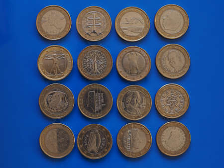 1 euro coin money (EUR), currency of European Union, many different countries