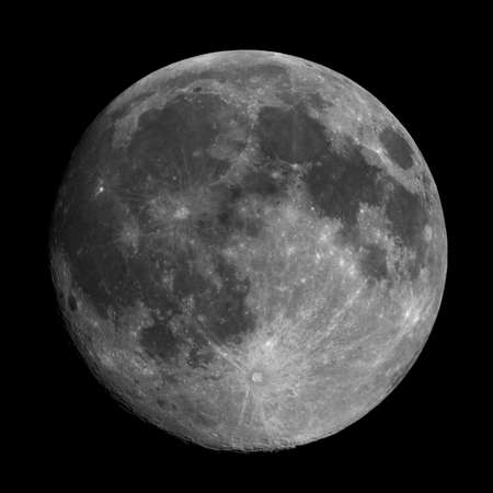 astrophoto: Full moon seen with an astronomical telescope, high resolution composite stacked image, improved contrast