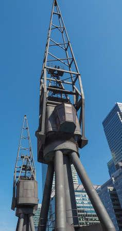 Docklands harbour crane in London, UK