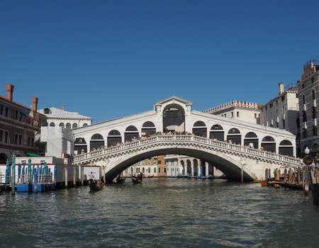VENICE, ITALY - CIRCA SEPTEMBER 2016: Ponte di Rialto (meaning Rialto Bridge) over the Grand Canal Editorial
