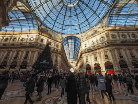 MILAN, ITALY - CIRCA JANUARY 2017: Tourists in Galleria Vittorio Emanuele II shopping arcade Editorial