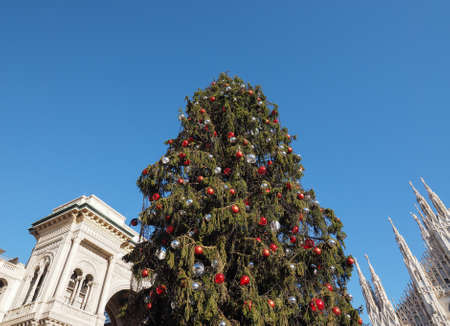 MILAN, ITALY - CIRCA JANUARY 2017: Christmas tree in front of Galleria Vittorio Emanuele II shopping arcade Editorial