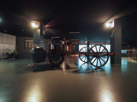 propelled: TURIN, ITALY - CIRCA JANUARY 2017: Vintage Cugnot steam car year 1769 at Museo Nazionale dell Automobile (meaning National Automobile Museum car museum), first self propelled vehicle Editorial