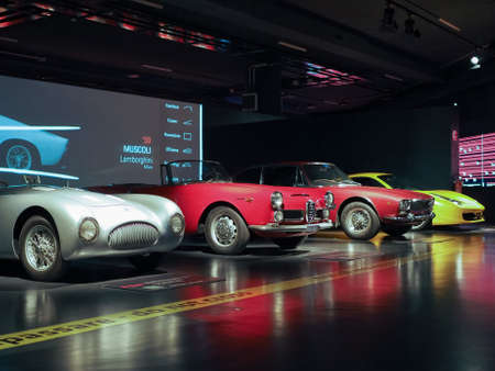 トリノ, イタリア - 2017年 1 月年頃: ヴィンテージ車博物館 dell 自動車 (意味国立自動車博物館自動車博物館) 報道画像