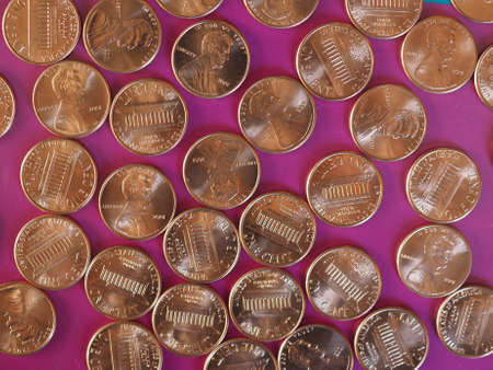 One Cent Dollar coins money (USD), currency of United States