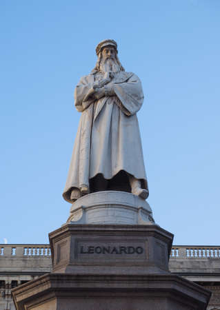 Monument to Leonardo da Vinci in Piazza della Scala (meaning La Scala square) designed by sculptor Pietro Magni in 1872 in Milan, Italy Stock Photo