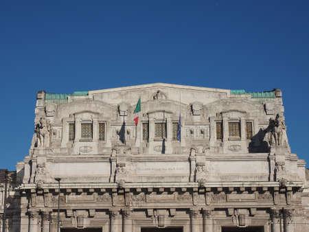 anno: Stazione Centrale Central railway station (text Nell anno MCMXXXI dell era di Cristo means Year 1931 AD) in Milan, Italy