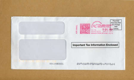 Envelope with important tax return document enclosed personal charlotte usa circa march 2017 a letter envelope with important tax information included sciox Image collections