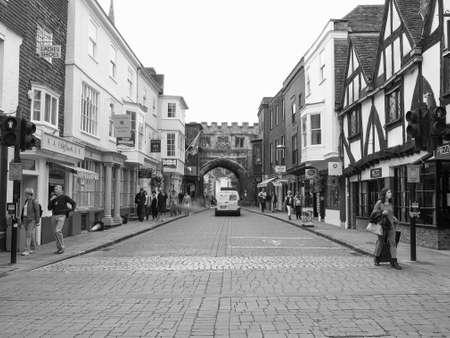 SALISBURY, UK - CIRCA SEPTEMBER 2016: View of the city of Salisbury in black and white Editorial