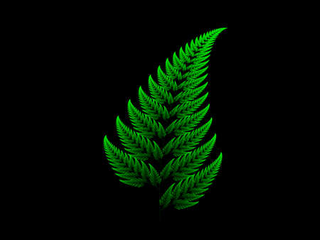 Green Barnsley set fern abstract fractal illustration useful as a background