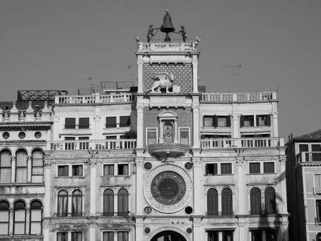Torre dell Orologio (meaning Clock Tower) in San Marco square in Venice, Italy in black and white