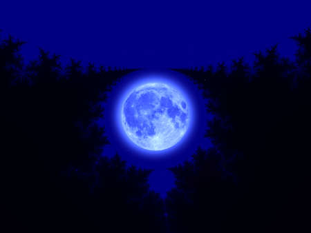 iterative: Full moon over blue abstract fractal illustration useful as a background